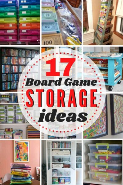 grid with 12 images of board game storage ideas. Text: 17 Brilliant Board Game Storage Ideas