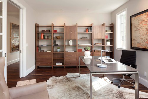 Home office with Collingwood walls and mid-century wall shelving unit.