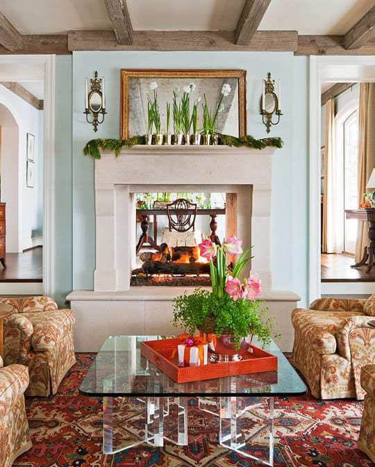 Aqua wall paint with fireplace and ceiling in BM Sea Salt paint.