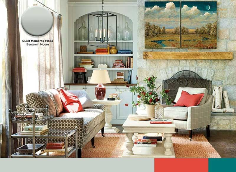 Benjamin Moore Quiet Moments on built in shelving and cabinets in a rustic cottage home.