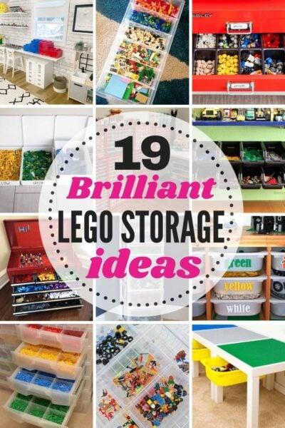 grid with 12 images of Lego storage ideas. Text:19 Brilliant Lego Storage ideas!