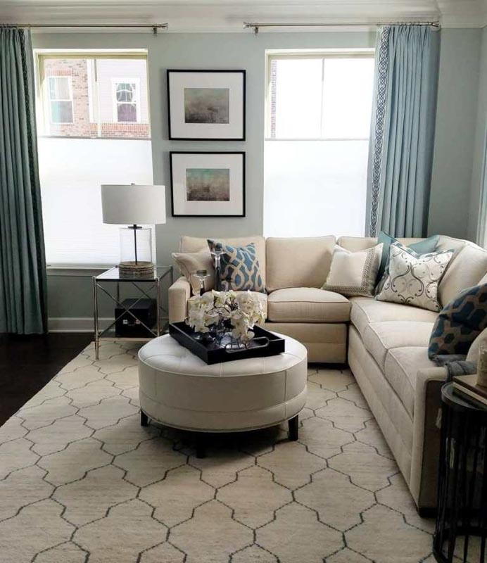 Quiet Moments paint, paired a with neutral and blue decor palette.