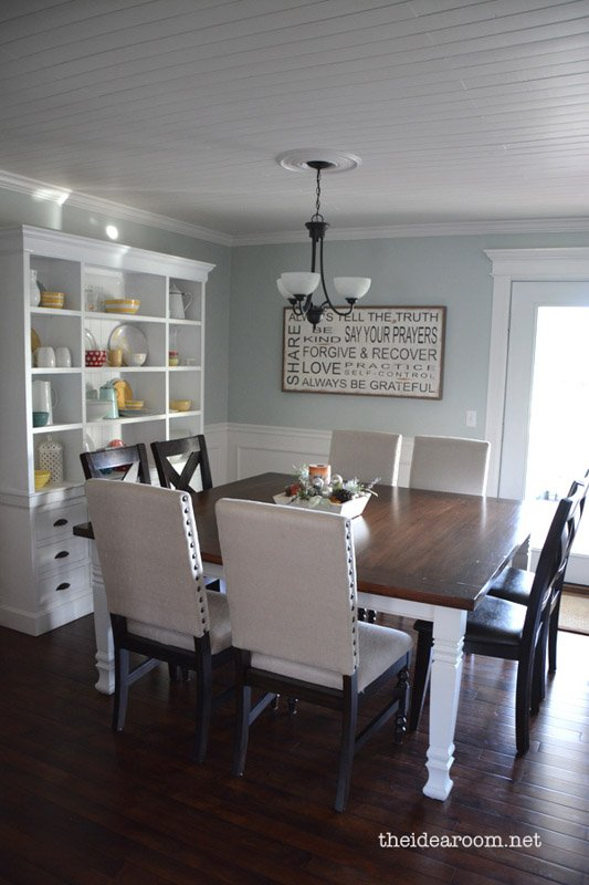 Kitchen with cool natural light, stark white trim and Quiet Moments paint on the walls.
