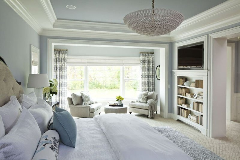 Quiet Moments shows its icy blue side, paired with slightly off-white crown moulding and trim.