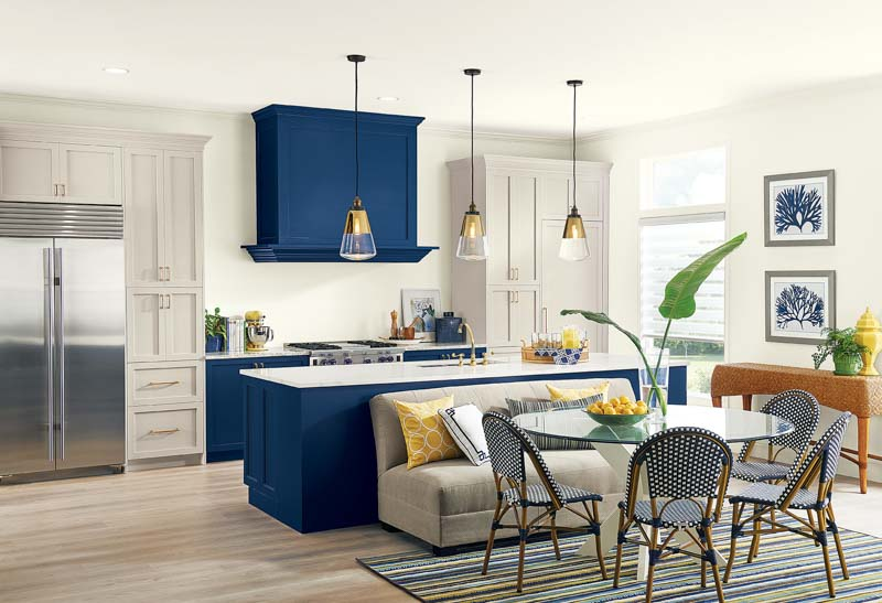 A combination of navy blue and Alpaca painted kitchen cabinets.