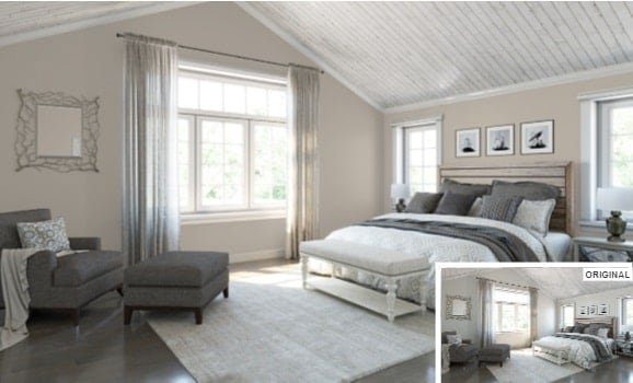 A large bedroom with high ceilings painted in anew gray by Sherwin Williams.