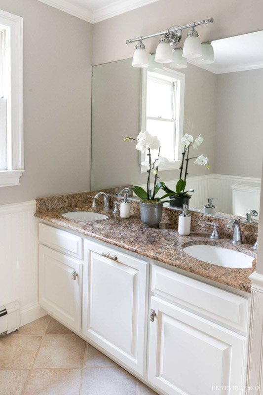 Alpaca walls in a bathroom with white cabinets and a brown marbled countertop.