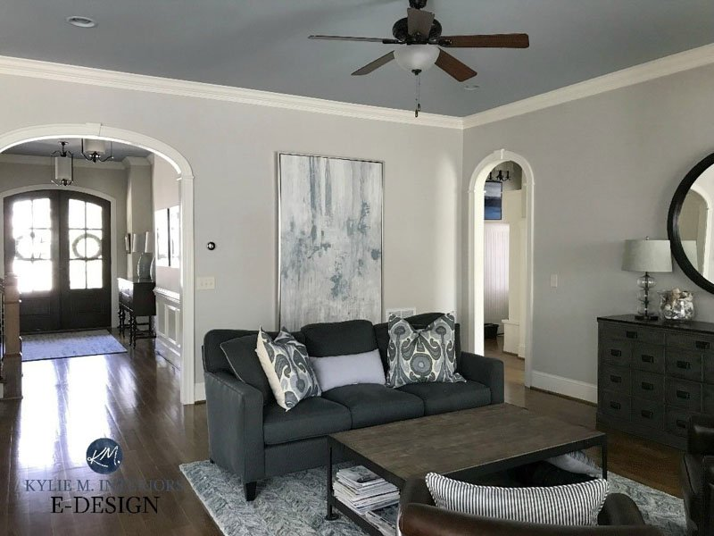 Living room with wall paint by Benjamin Moore Collingwood and white trim.