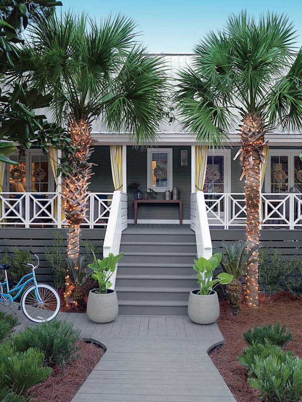 Coastal home with exterior and porch steps in Benjamin Moore Chelsea Gray.