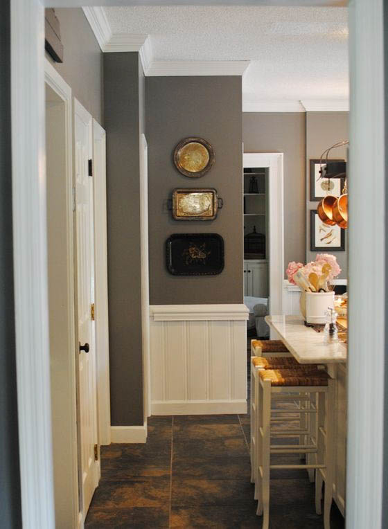 Classic kitchen with Chelsea Gray walls and white wainscoting.