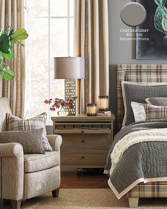 Chelsea Gray is a warm, medium-toned gray paint that works great in bedrooms with layered textures and lots of neutral shades.