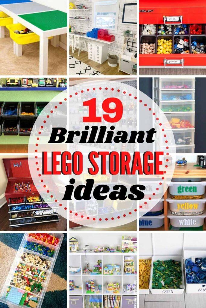 grid with 12 images of Lego storage ideas. Text: 19 Brilliant Lego Storage ideas!
