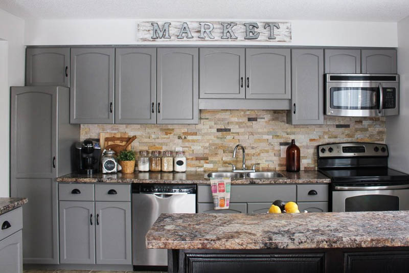 Kitchen with cabinets painted Chelsea Gray.