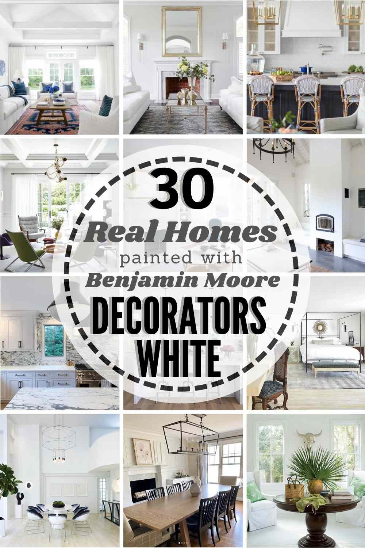 grid image of homes painted in Benjamin Moore Decorators White