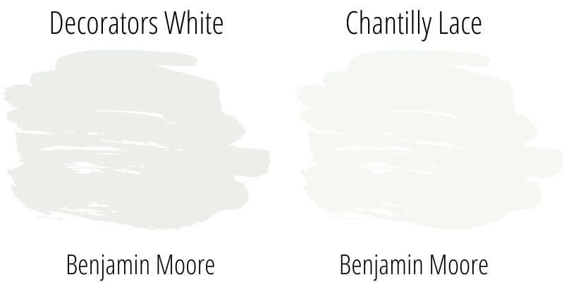 swatch comparison: Benjamin Moore Decorators White versus Chantilly Lace