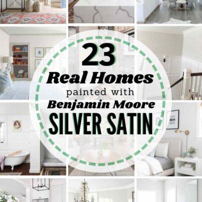 grid image of homes painted Benjamin Moore Silver Satin