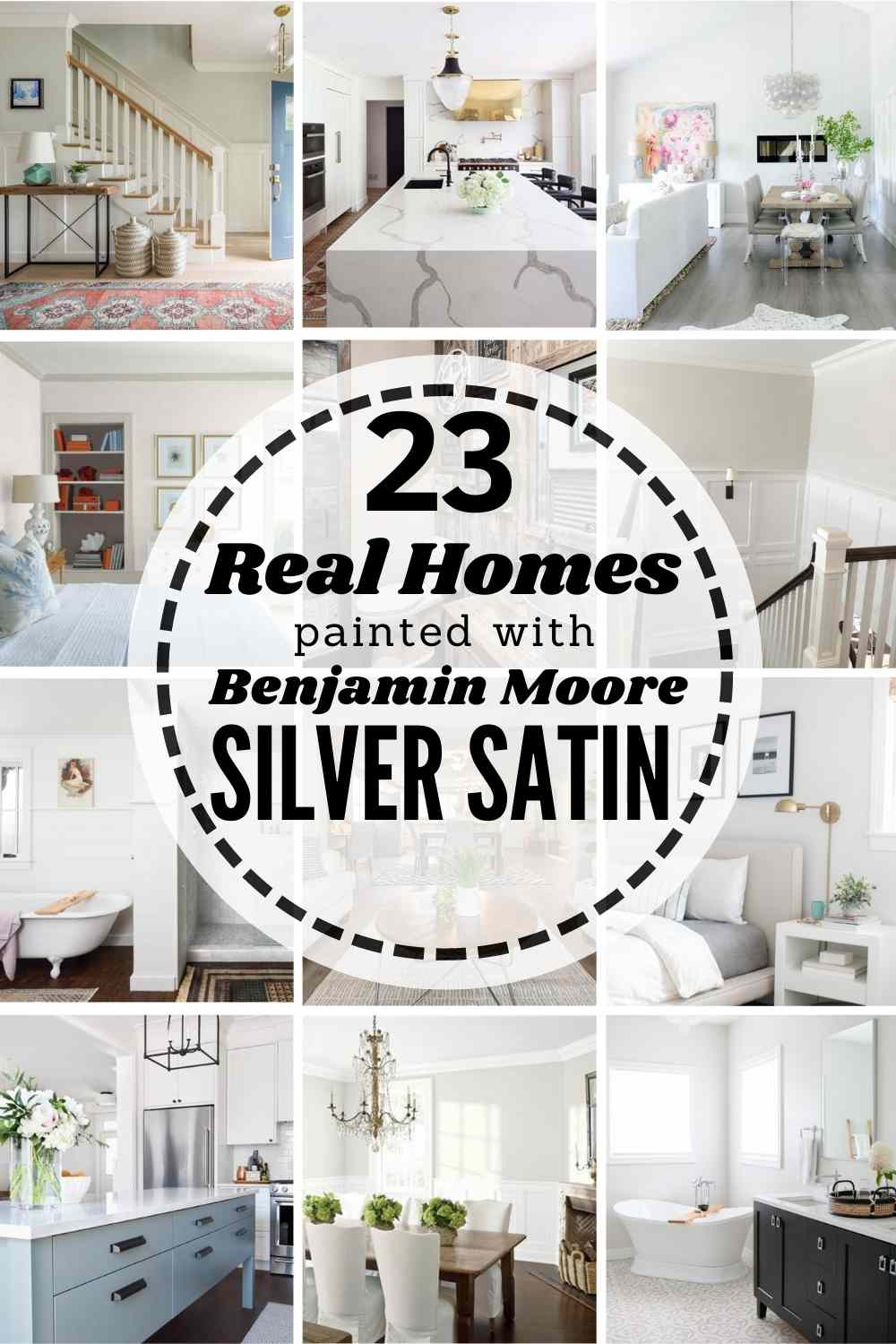 grid image of homes painted Benjamin Moore Silver Satin