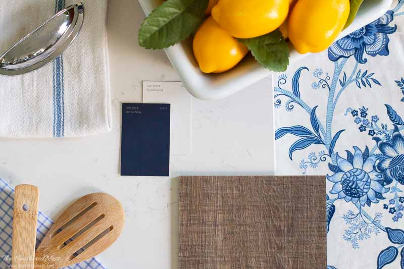 kitchen mood board with white quarts, luxury vinyl flooring, blue and white accents