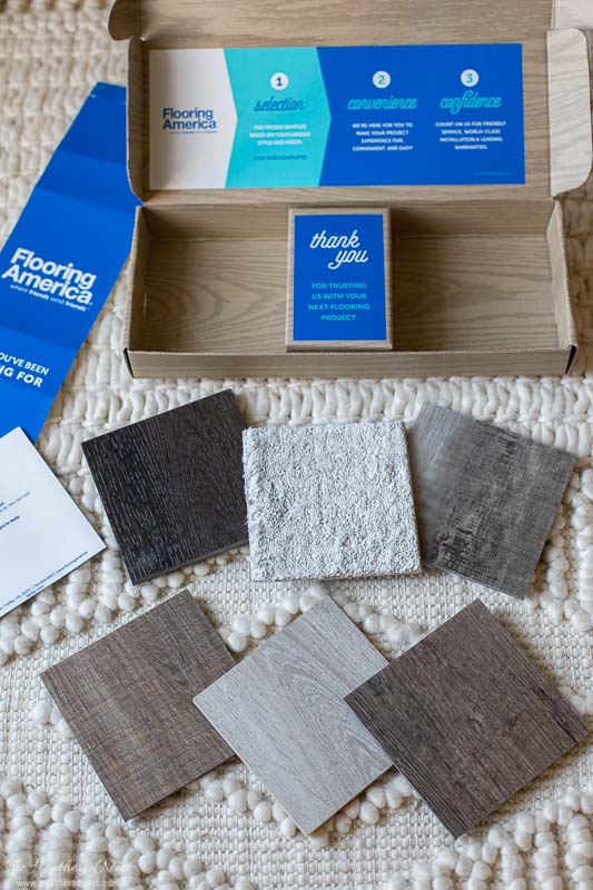Flooring America Sample Box opened with 6 samples arranged