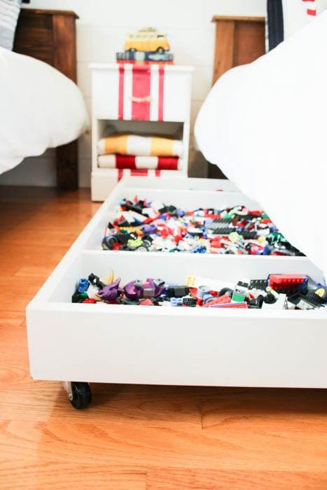 The Happy Housie under bed rolling Lego storage bin