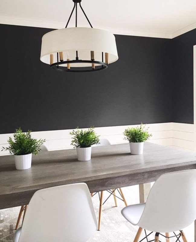 Dark charcoal black painted upper walls over white wainscoting in a dining room.