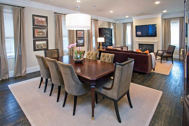 A sophisticated dining and living room combo with Benjamin Moore tan painted walls.
