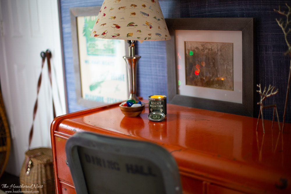 holiday candle scent in our outdoor themed boys bedroom