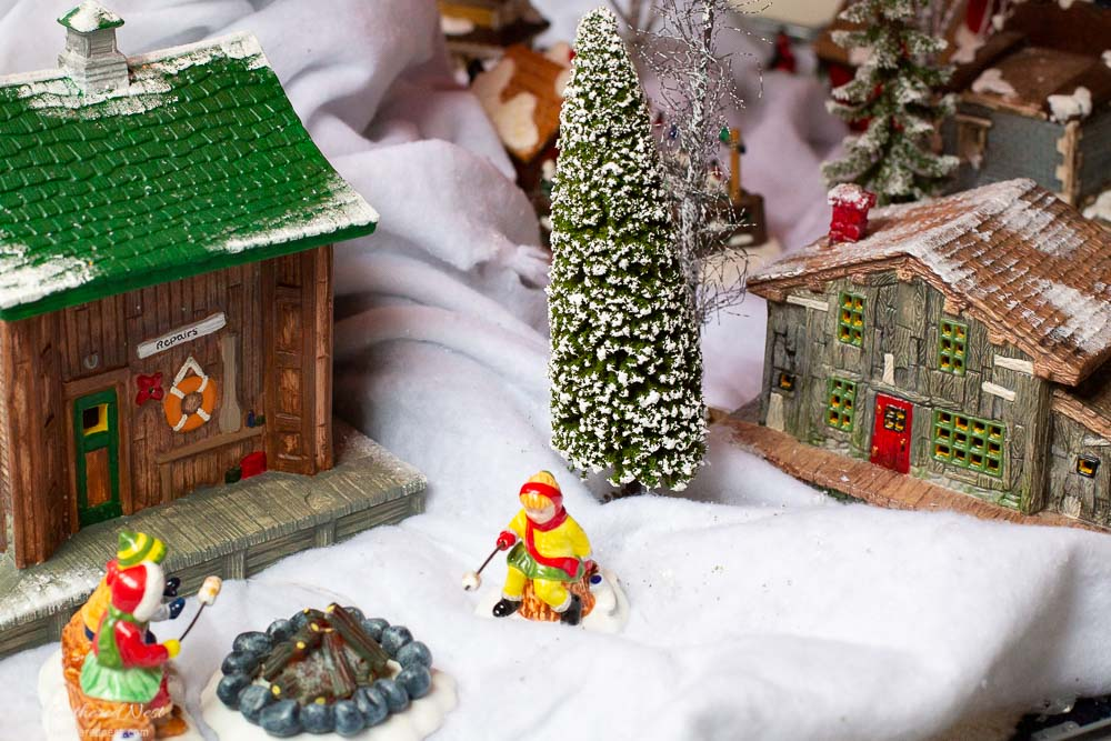 closeup of hand painted Christmas train village