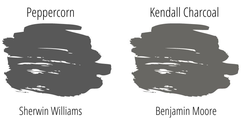 side by side paint swatch comparison: Sherwin Williams Peppercorn versus Benjamin Moore Kendall Charcoal