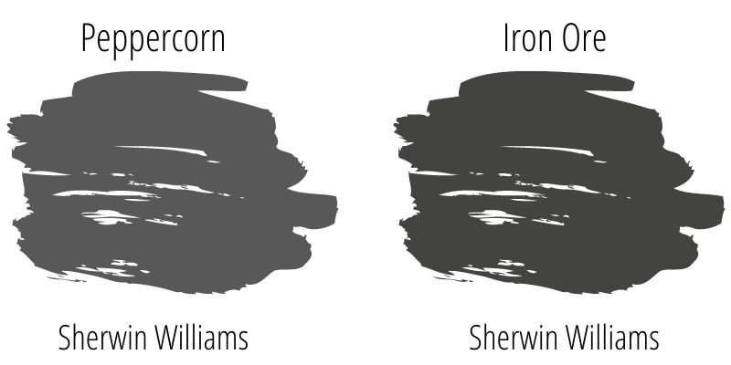 side by side paint swatch comparison: Sherwin Williams Peppercorn versus Sherwin Williams Iron Ore