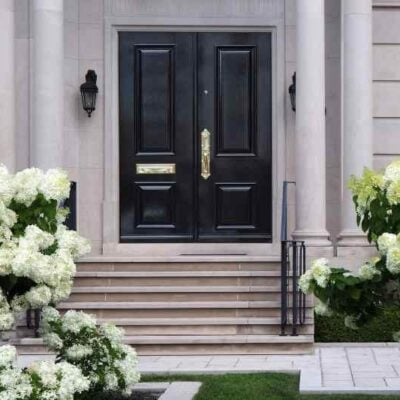 home with large white snowball hydrangeas, black front door - great curb appeal