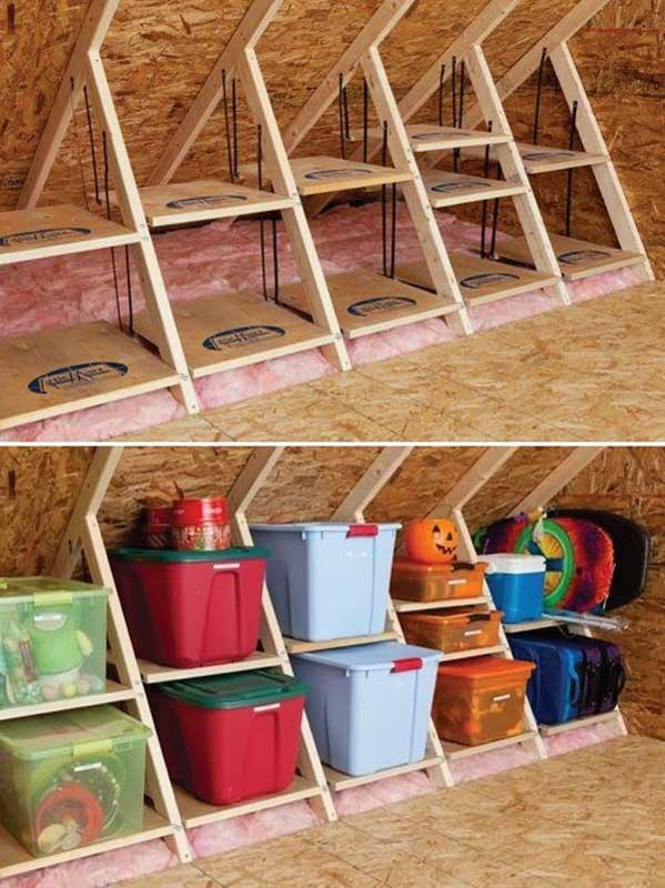 Attic shelves stacked with color coordinated bins