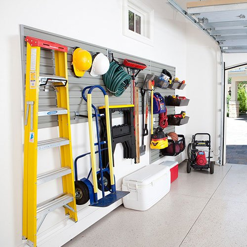Garage wall with gray modular storage wall