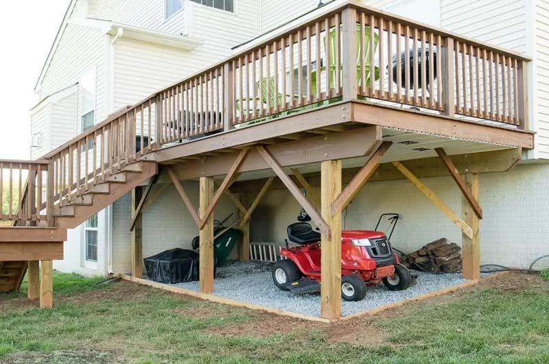 gravel area for storage under deck