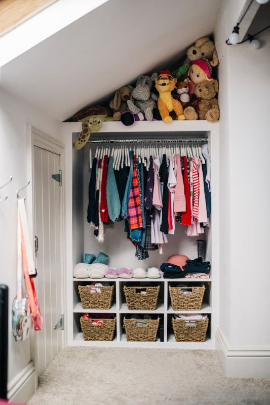 Sloped ceiling with stuffed animal storage