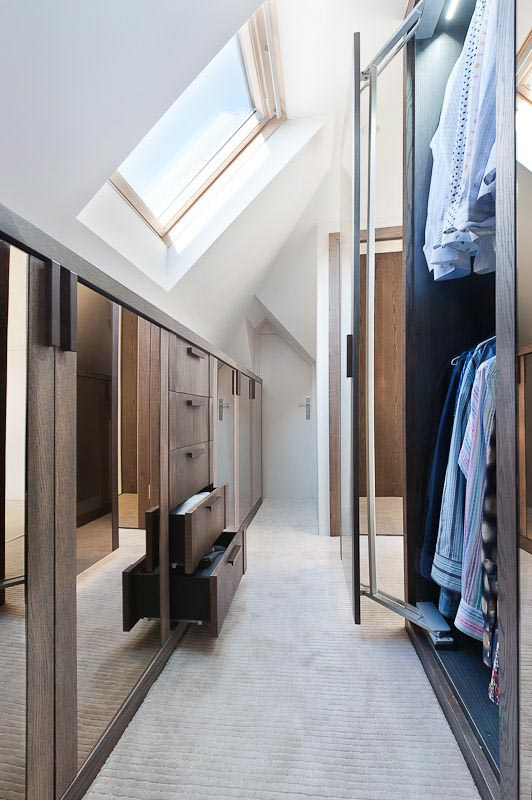 Attic with sky light and built in closet