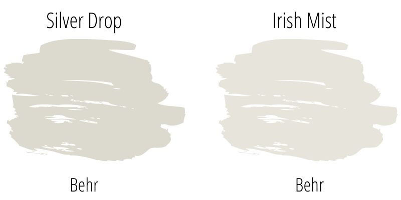 Side by side paint swatch comparison of Behr Silver Drop and Behr Irish Mist
