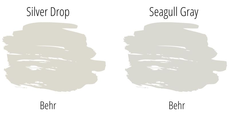 Side by side paint swatch comparison of Behr Silver Drop and Behr Seagull Gray