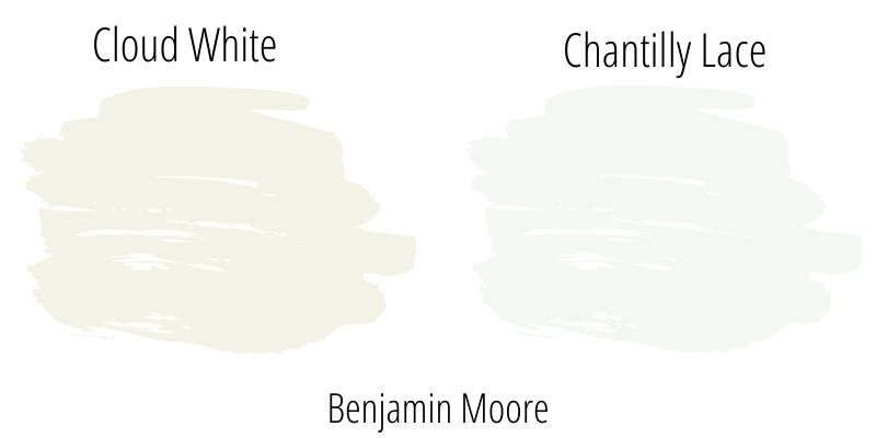 Swatch comparison: Benjamin Moore Cloud White versus Benjamin Moore Chantilly Lace