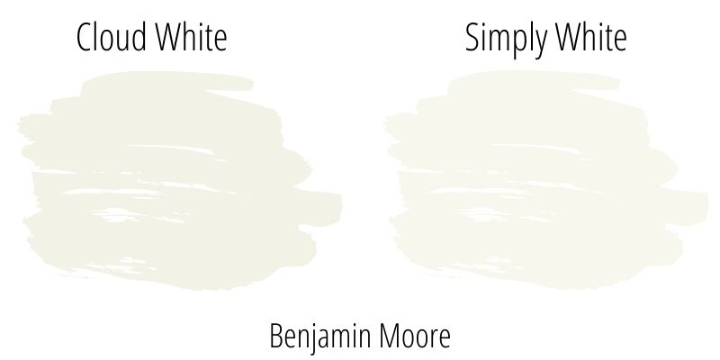Swatch comparison: Benjamin Moore Cloud White versus Benjamin Moore Simply White