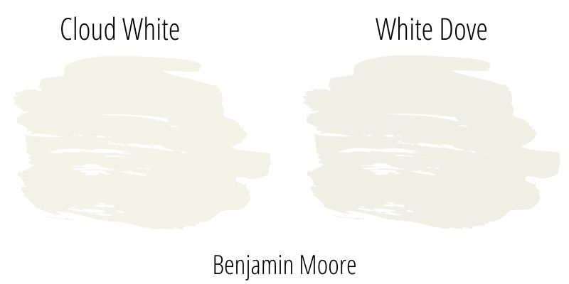 Swatch comparison: Benjamin Moore Cloud White versus Benjamin Moore White Dove