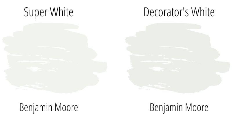color swatch comparison: Benjamin Moore Super White versus Decorator\'s White