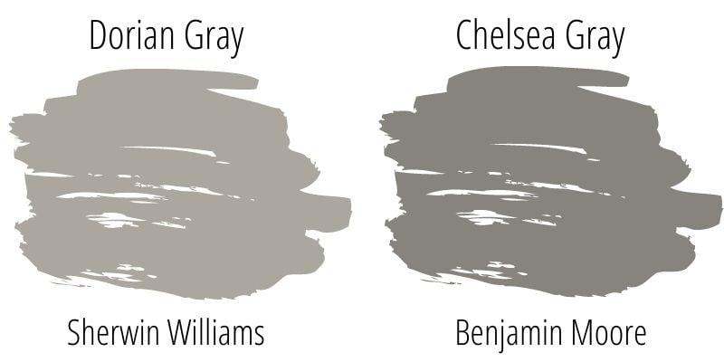 swatch comparison: Dorian Gray versus Chelsea Gray