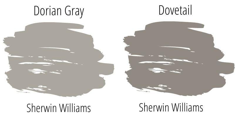 swatch comparison: Dorian Gray versus Dovetail