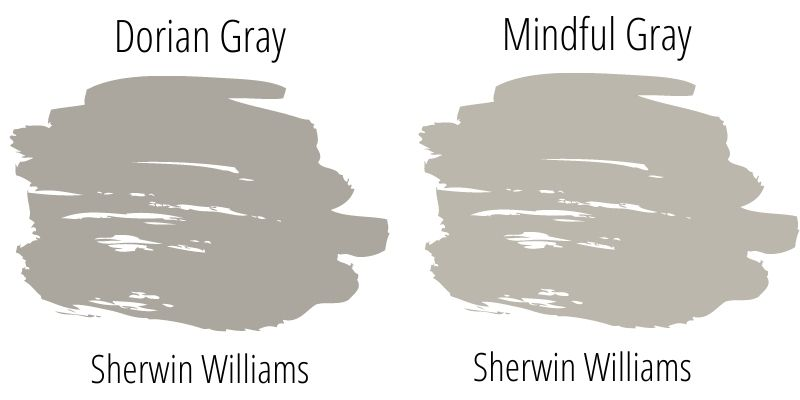 swatch comparison: Mindful Gray versus Dorian Gray