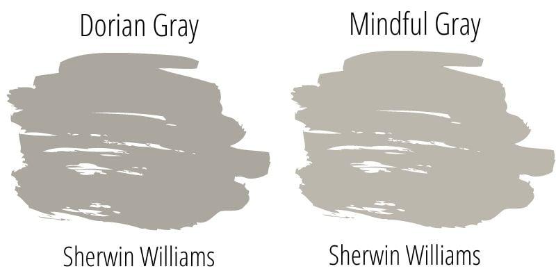 swatch comparison: Mindful Gray versus Dorian Gray