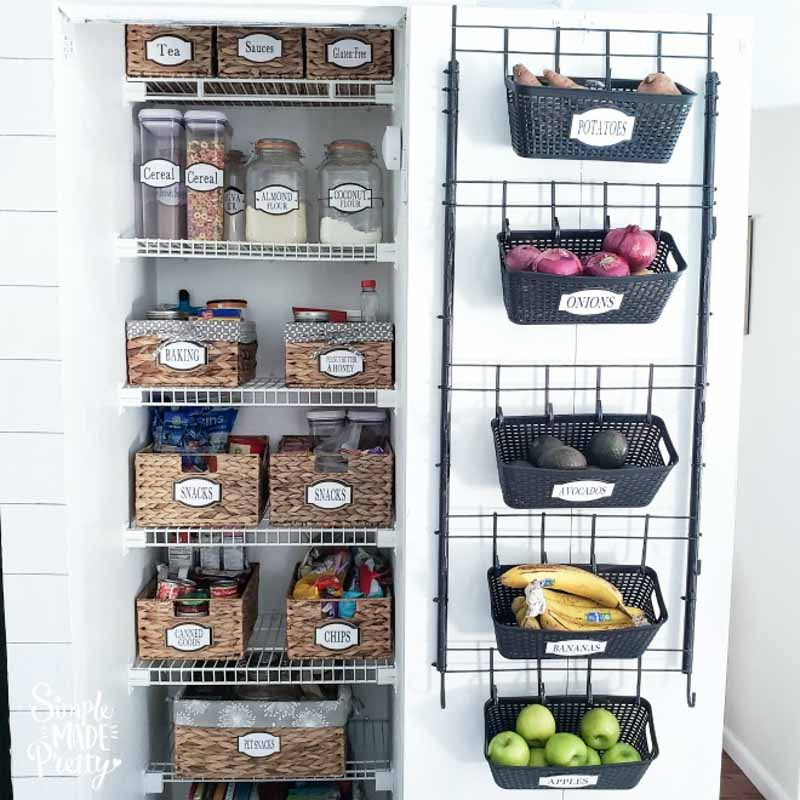 organized pantry with supplies from the Dollar Tree