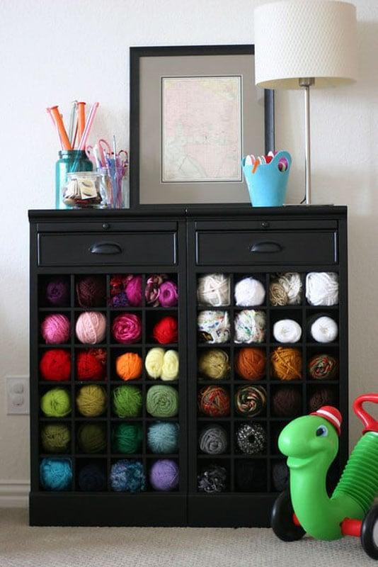 yarn storage in a wine cabinet