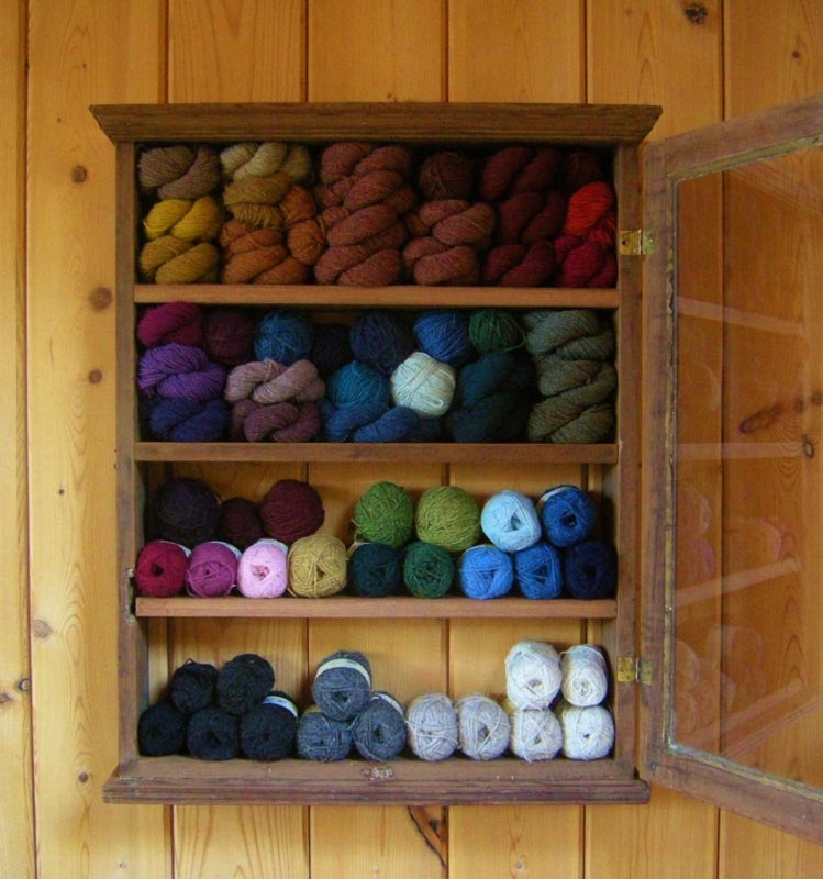 glass medicine cabinet filled with yarn