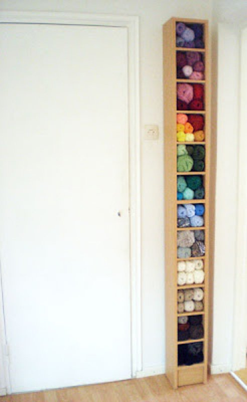 CD tower filled with colorful yarn